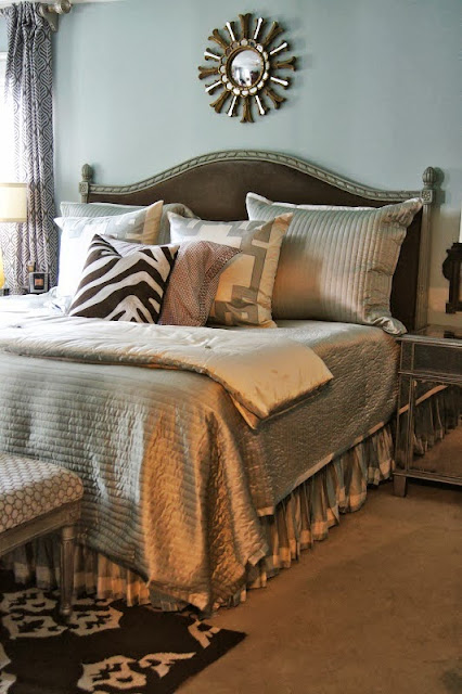 grey bedroom with silver bedding
