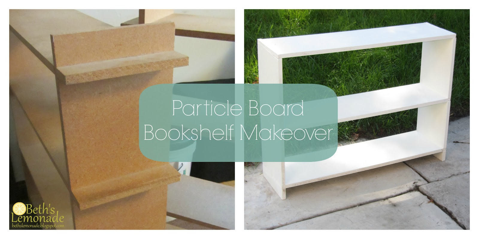 Beth s lemonade particle board bookshelf makeover