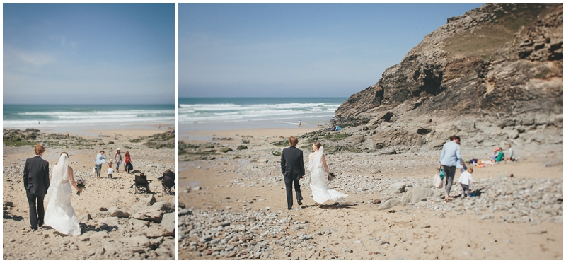 Bride and groom on Chapel Porth beach