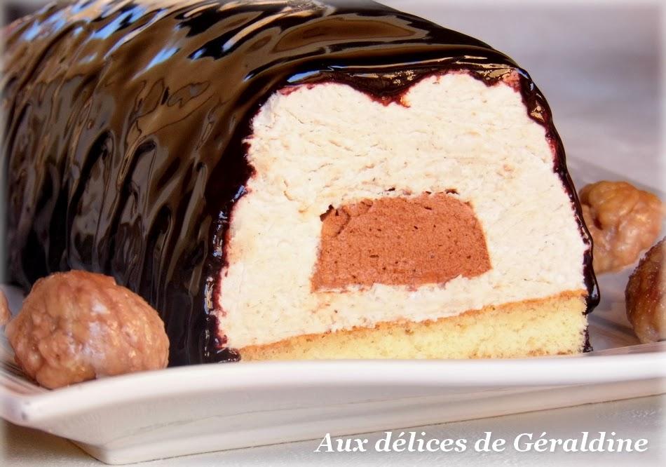 Aux d lices de g raldine b che bavaroise cr me de marron coeur de mousse au chocolat gla age - Buche aux marrons sans cuisson ...
