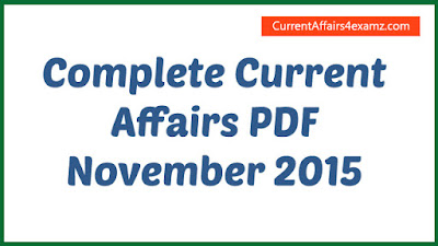 Current Affairs PDF November 2015