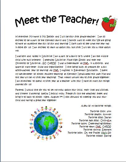 back to school letter from teacher