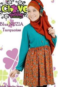Clover Clothing Blus Nuzia - Turquoise (Toko Jilbab dan Busana Muslimah Terbaru)