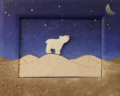 création d'un tableau ours blanc dans le désert de nuit en mosaïque et peinture ideal pour cadeau de naissance sable faience tout l'univers créatif de mimi vermicelle