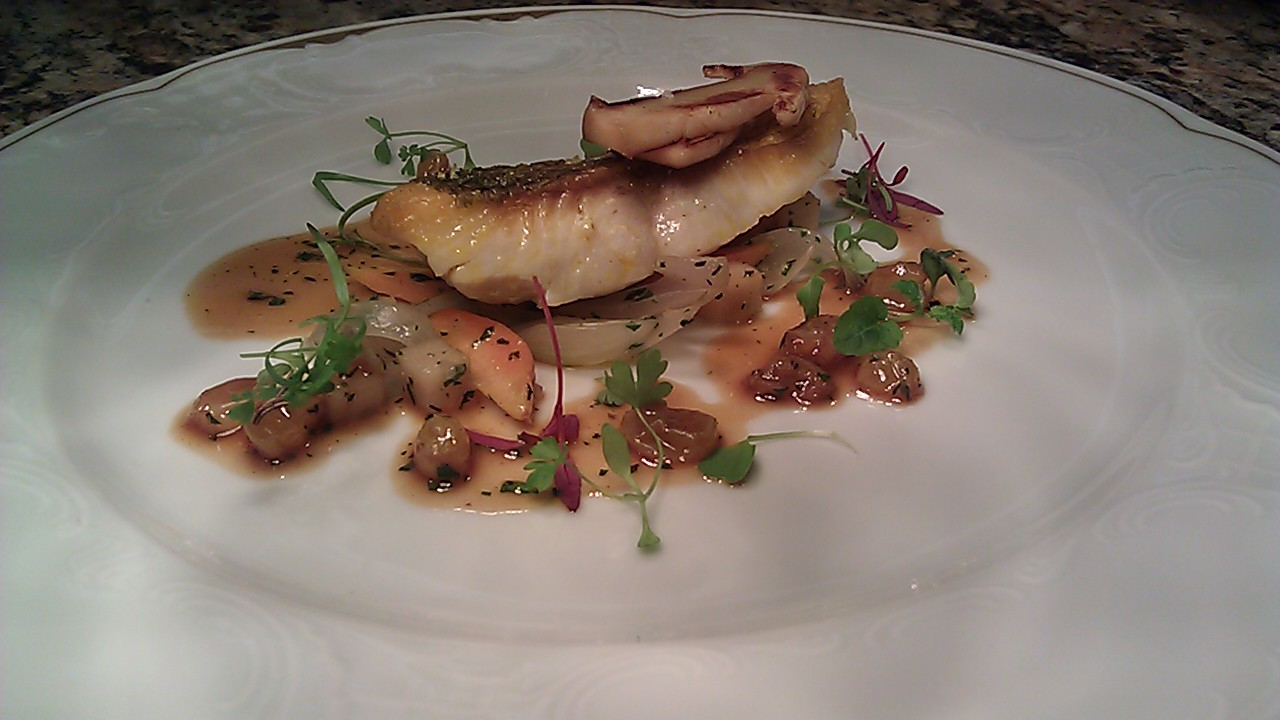... butter poached canadian whitefish, thumbelina carrots, apples, onions