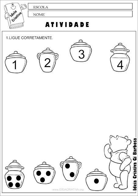 Atividade Número e Quantidade Ursinho Pooh