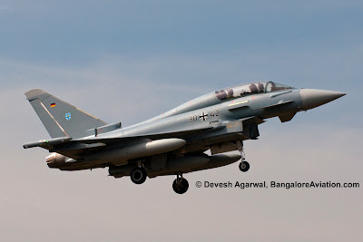 Eurofighter Typhoon landing at Bangalore HAL airport Indian Airforce MMRCA