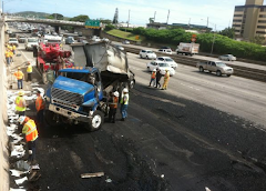H-1 Truck Crash on 4/2/12 Closed 3 of 6 Ewa-Bound Lanes
