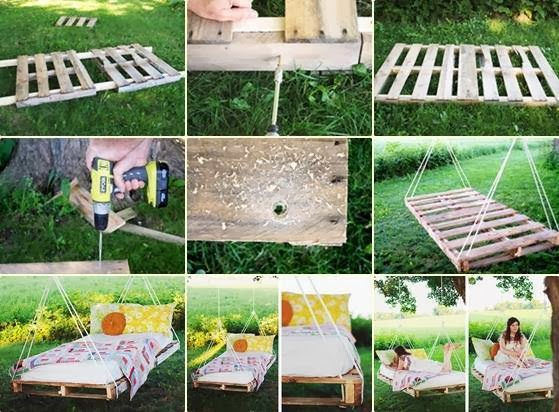 Wooden pallet swing bed my99post for Outdoor pallet swing bed