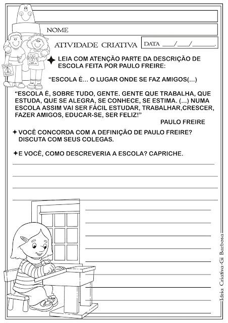 Atividade Produção Textual A Escola Paulo Freire
