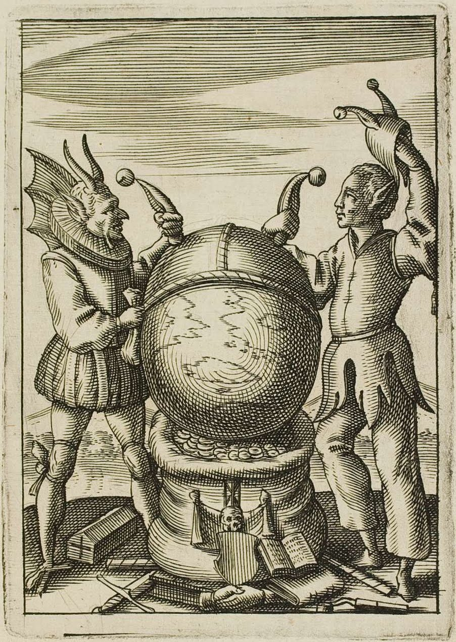 fool's cap emblem with devil and human attendants