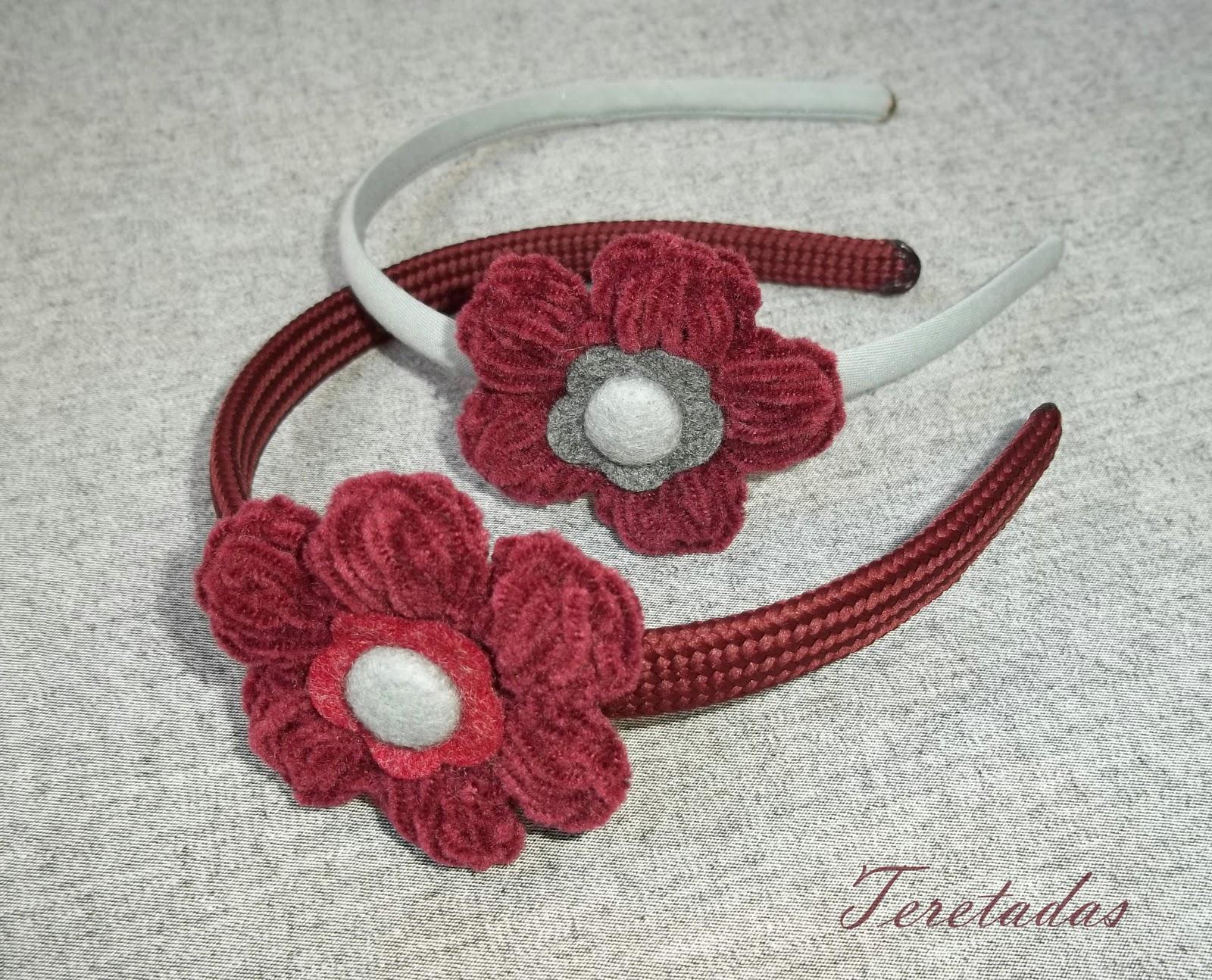 Teretadas diademas con flores de ganchillo - Diademas de ganchillo ...