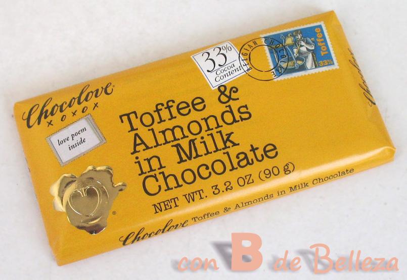 Chocolate con leche, toffee y almendras