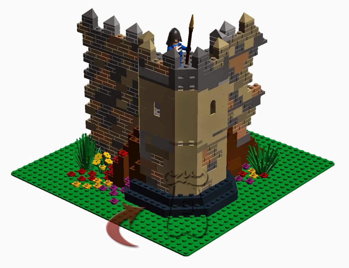 Zarpa sobre la que se asienta una torre octogonal de una muralla