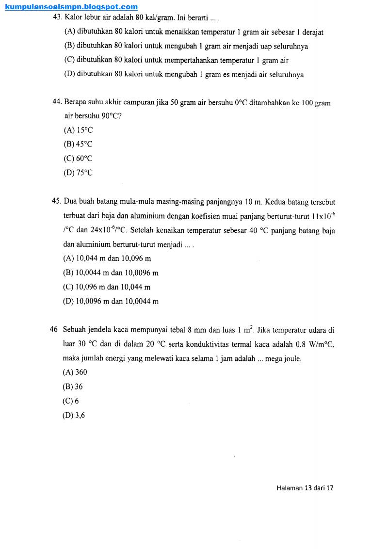 Kumpulan Soal Osn Smp Tingkat Kabupaten Ta 2010 2011