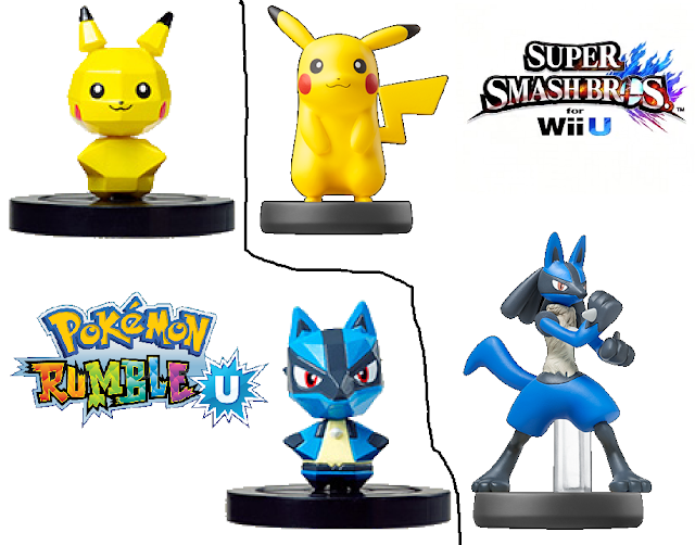 Pokémon Pokemon Rumble U Pikachu Lucario NFC figures comparsion versus amiibo Super Smash Bros. series