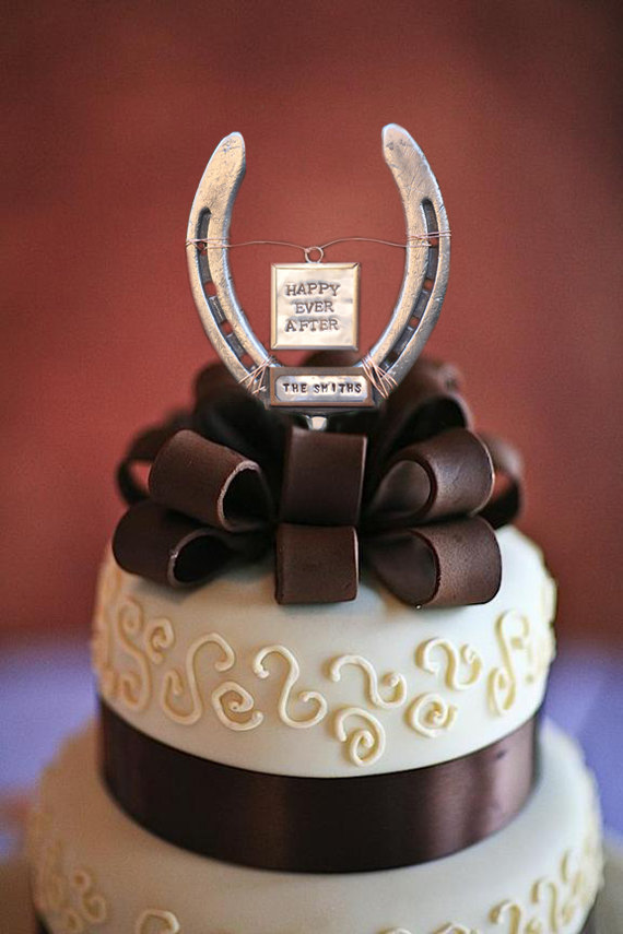 Good Luck Horse Shoe Wedding Cake Topper
