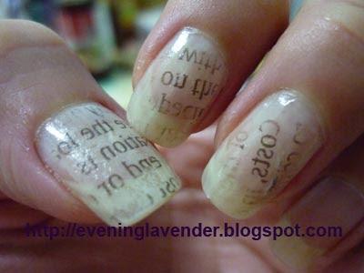 Evening Lavender Nail Art Lav 027 Newspaper Print Nail Art