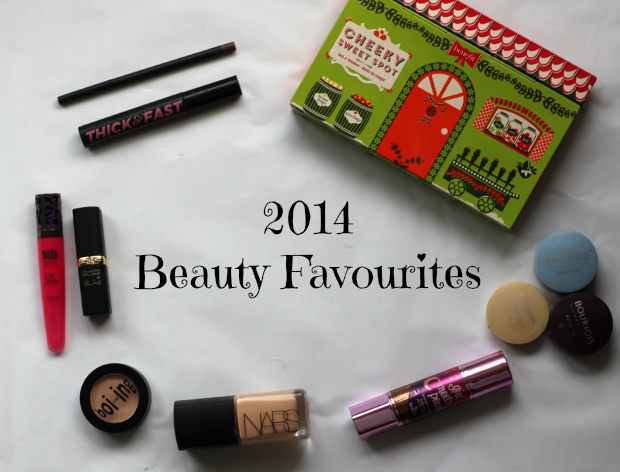 2014, something like nicola, beauty favourites, benefit, cheeky sweet spot, blush, bronzer, highlighter, girl meets pearl, boi-ing, concealer, soap and glory, thick and fast, mascara, mac, eye brow, nars, sheer glow, foundation, santa fe, loreal paris, blakes red, urban decay, lip junkie, crush, bourjois, little round pots,
