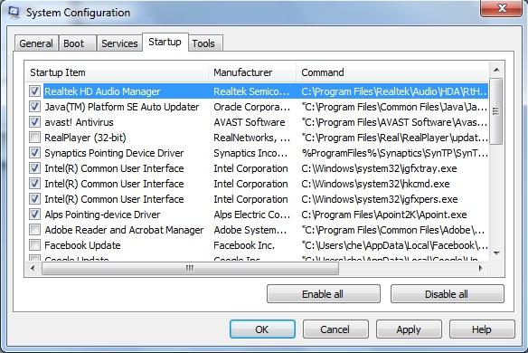 إيقاف تشغيل البرامج التي تعمل عند بدء تشغيل الويندوز لتسريع الحاسوب