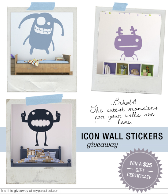 Icon Wall Stickers giveaway at myparadissi.com. Follow @iconwallsticker #giveaway