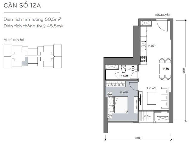 Căn hộ Vinhomes Central Park 4, 5, 6 - Kiểu nhà số 12A - 50.5m2 - 1PN