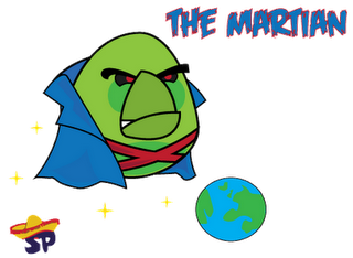 Martian Manhunter Superheroes estilo Angry Birds