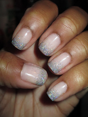 Glitter tips, Love & Beauty, baby pink, silver glitter, nail art, nail design, mani