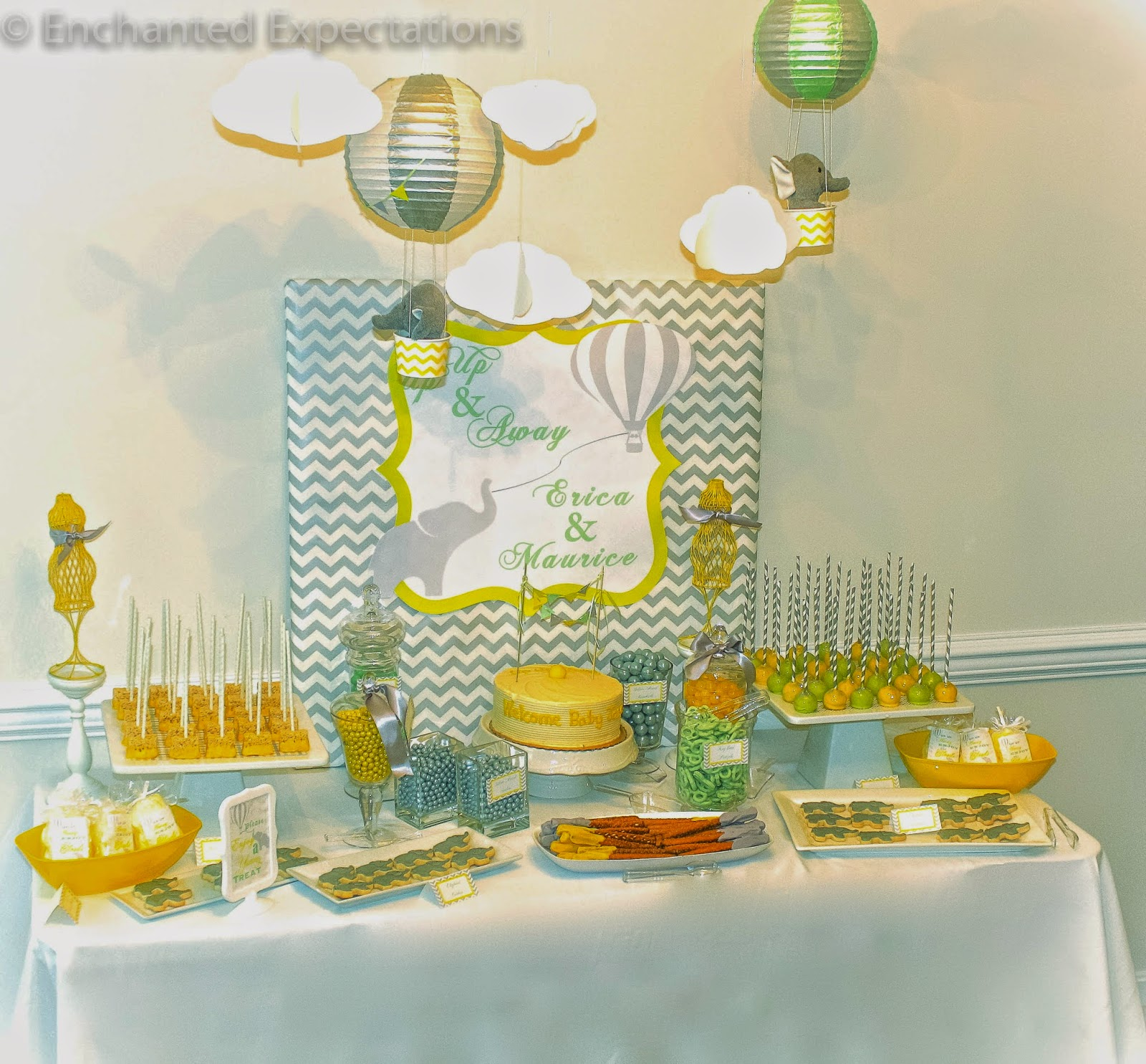 expectations up up away mint green yellow and grey baby shower
