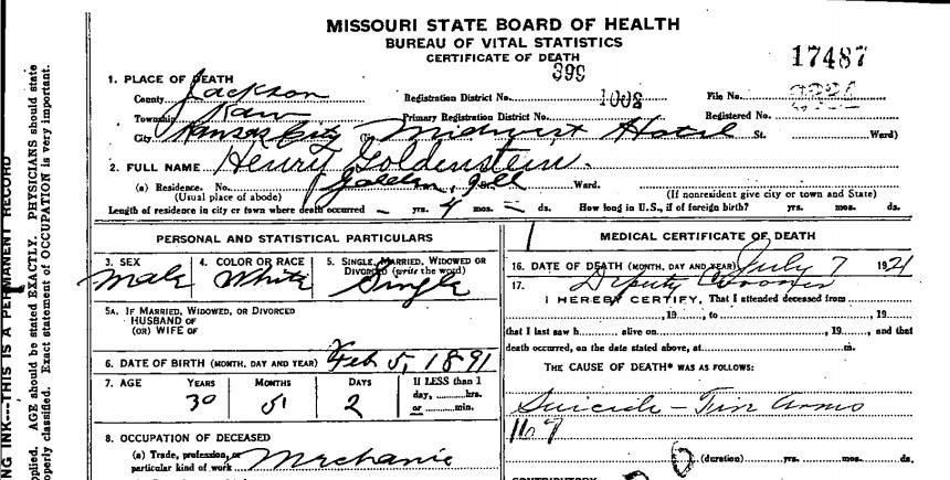 RootDig.com: Missouri Death Certificate Says 1921 Death a Suicide