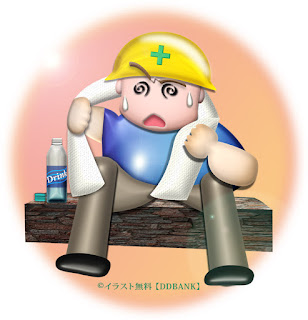 猛暑の工事現場・熱中症の無料イラスト