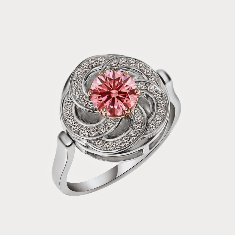 Pink Wild Flower Ring in 18k White and Rose Gold