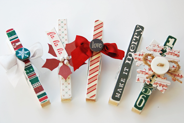 Remember the good times altered project clothes pin for Christmas card holder craft project