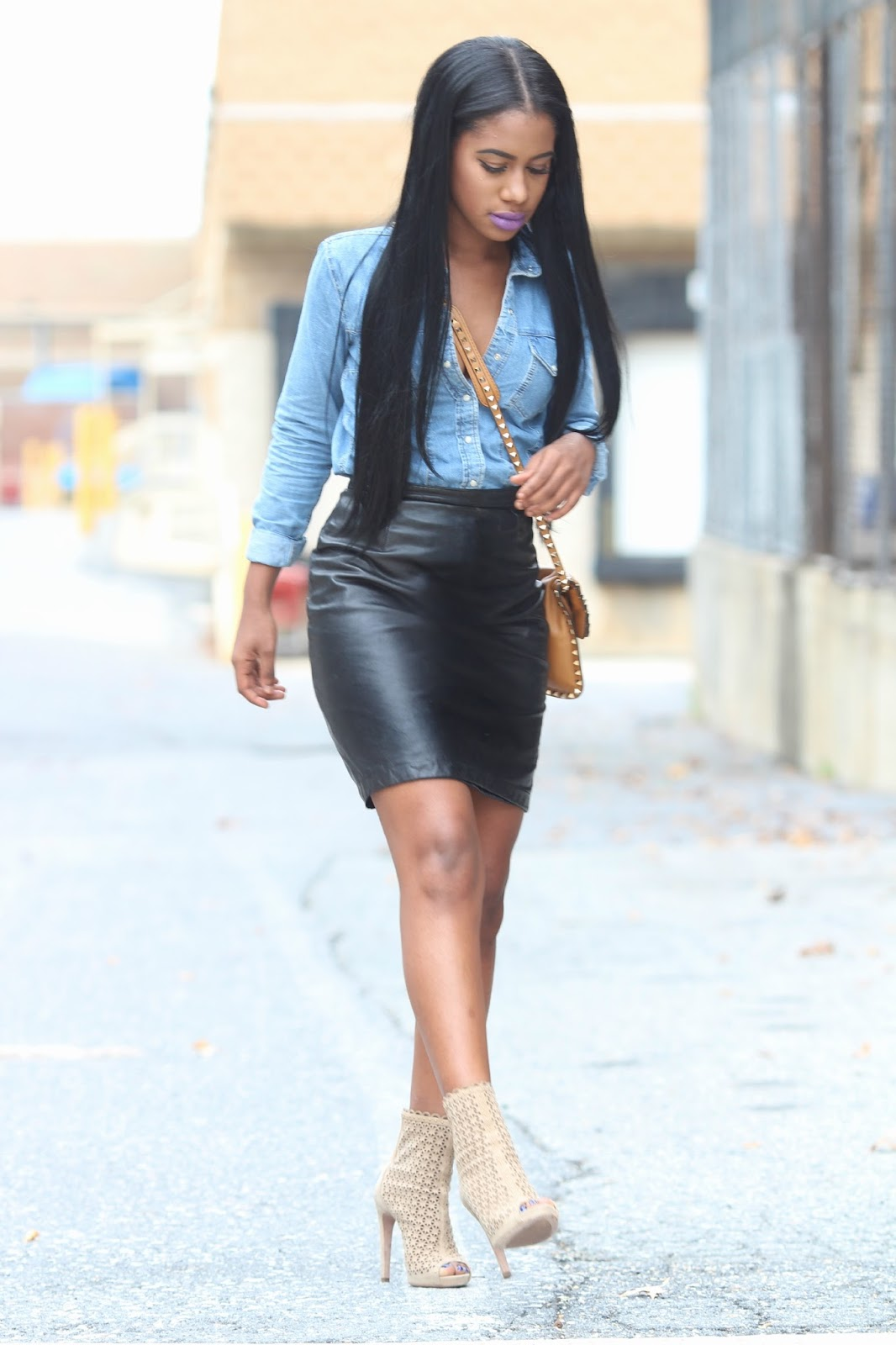 leather skirt and denim shirt redskirtz
