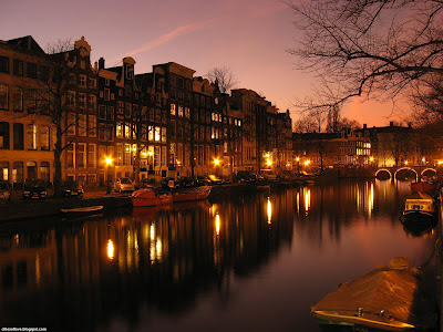 Amsterdam Wonderful Lights And Ambience The Capital Of Netherlands Hd Desktop Wallpaper