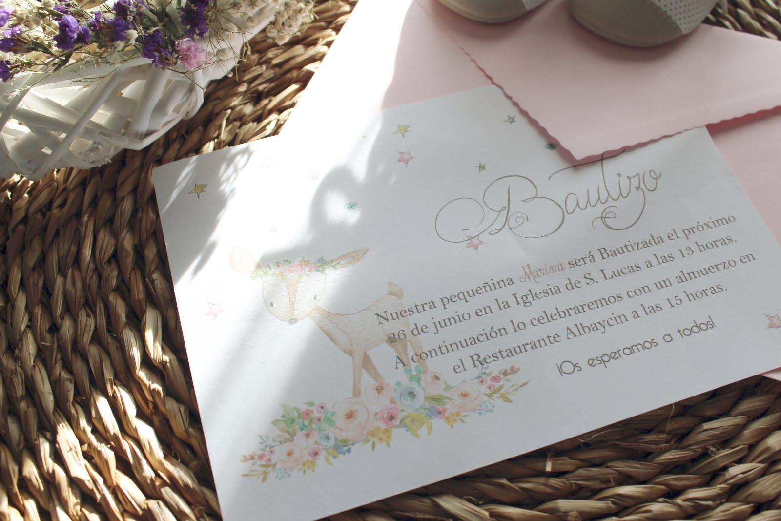 Tiernas Invitaciones de Bautizo