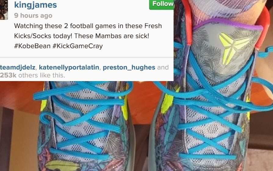 Lebron James Wearing Kobe Bryant s Nike Kobe 6 Prelude Sneakers! WHAT! !  (Images) 5684d054c