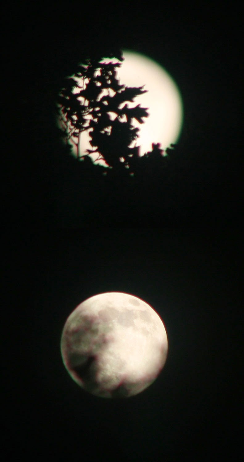 Two shots of the moon
