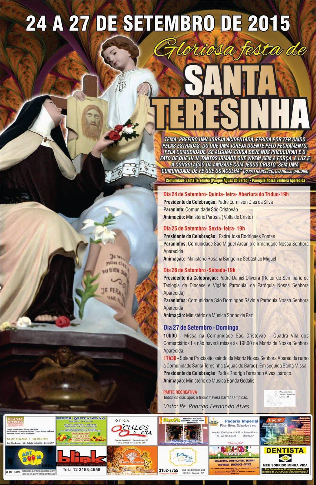 PROGRAMA DA FESTA DE SANTA TERESINHA