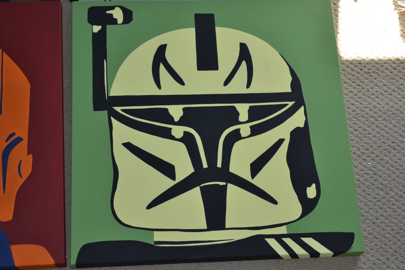 you re art by corie kline star wars legos pop art the bold colors and shapes will look striking against his tan walls so if you re unsure about committing to a wall mural think about what can be created