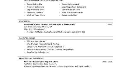 accounts payable resume sample assistant accounts receivable