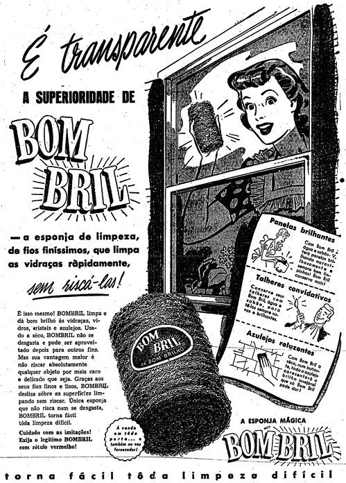 Propaganda do Bombril em 1952: um anúncio com rico texto para promoção da palha de aço.