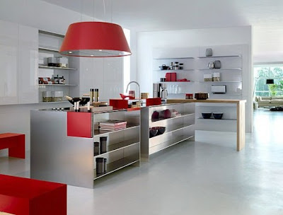 contemporary kitchen design in red and white with metal island