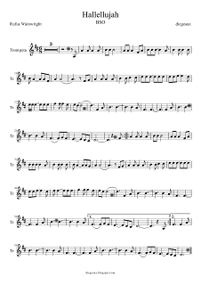 Partitura de Trompeta y Fliscorno de Hallelujah de Shrek para tocarla junto a la música. Sheet music for Hallelujah Trumpet and Flugelhorn (music score for Trumpet hallelujah)