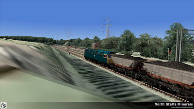 Fastline Simulation - North Staffs Minerals: Trentham Colliery. An MGR service waits to depart.