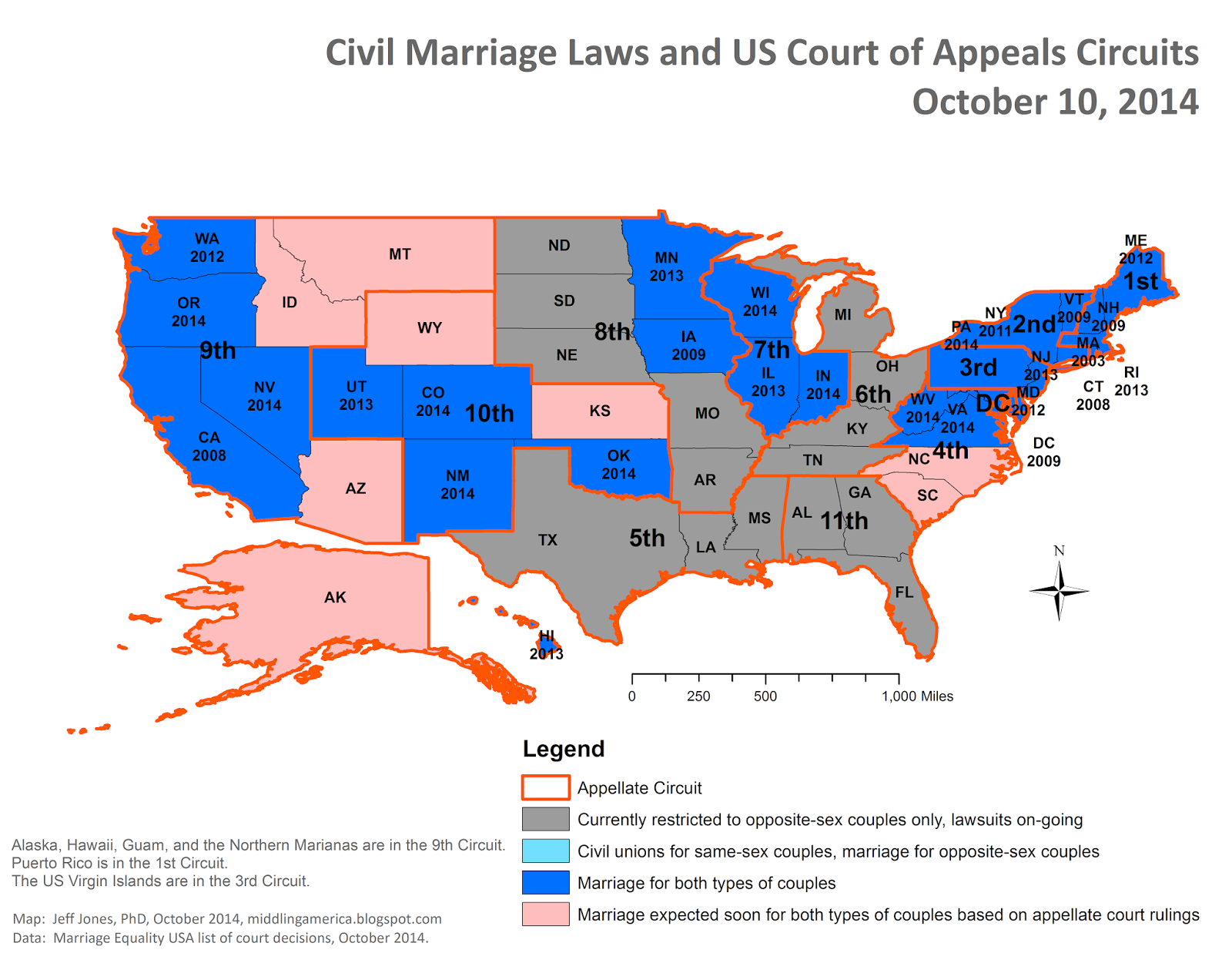 Middling America Latest Civil Marriage Laws Map