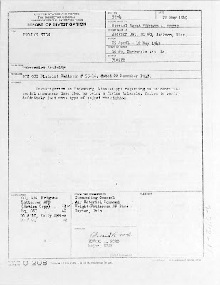 AFOSI -Project Sign Report - Flying Triangle Sighted Over Vicksburg, Mississippi (1)5-26-1949