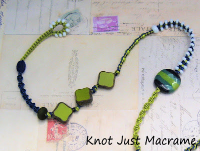 Knotting, Czech glass diamonds, Kazuri bead
