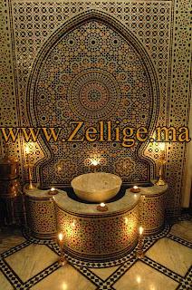 Fontaines en zellige mosa que marocain fes wonderful for Salle de bain style hammam