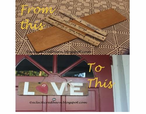 Eclectic Red Barn:  From scraps of wood to Valentine's Day sign
